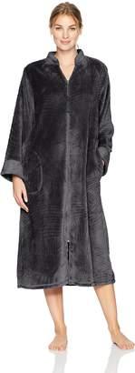 Miss Elaine Women's Brushed Cuddle Fleece Long Zipper Robe