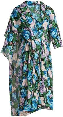 Balenciaga Draped floral-printed midi dress