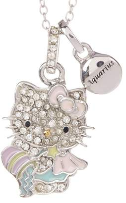 Hello Kitty Zodiac Sterling Silver Pave Crystal Enamel Full Aquarius Pendant Necklace