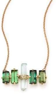 Jacquie Aiche Green Tourmaline, Aquamarine& 14K Yellow Gold Aura Bar Pendant Necklace