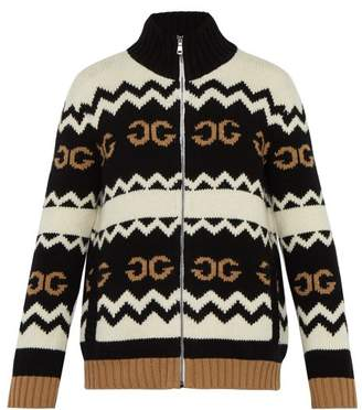 Gucci Zip Through Gg Jacquard Wool Cardigan - Mens - Black Multi