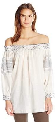 Velvet by Graham & Spencer Women's Embroidered Off Shoulder Tunic