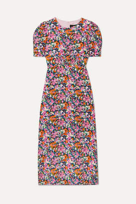 Saloni Bianca Floral-print Silk Crepe De Chine Midi Dress