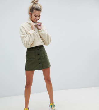 Bershka button up skirt in khaki