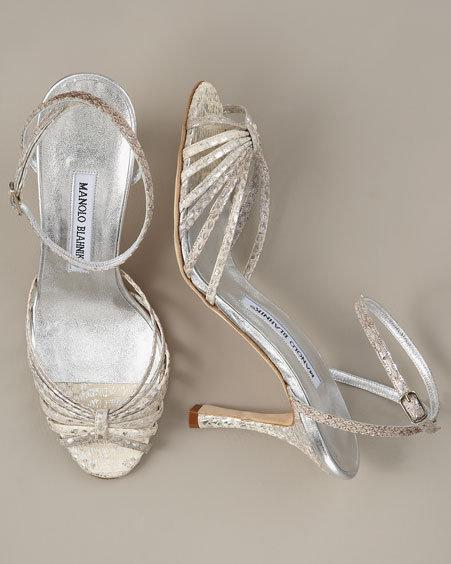 Manolo Blahnik Snakeskin Strappy Sandal