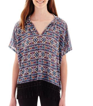 OLSENBOYE Olsenboye Short-Sleeve Aztec Print Hooded Poncho $52 thestylecure.com