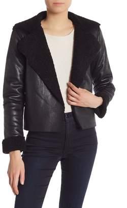 Vigoss Fleece Collar Faux Leather Jacket