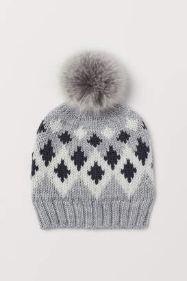 H&M Jacquard-knit Hat - Gray