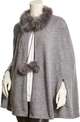 In Cashmere Incashmere Heather Grey Cashmere Poncho