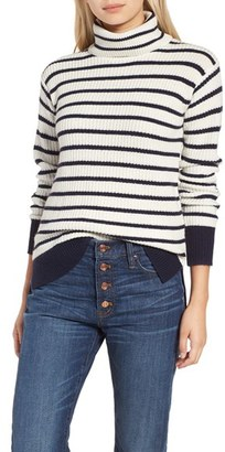 Women's J.crew Pierre Stripe Rib Turtleneck $98 thestylecure.com