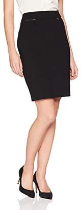 Lark & Ro Women's Side Zipper Pencil Skirt