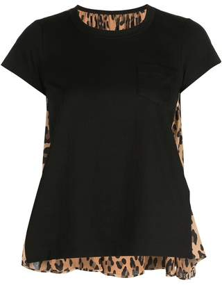 Sacai Front Pocket Tee With Leopard Print Back