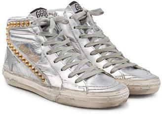Golden Goose Slide Metallic Leather Sneakers with Studs