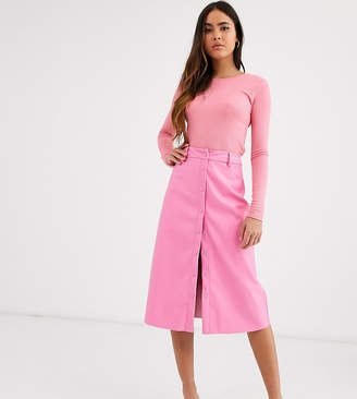 Glamorous button front midi skirt in soft faux leather