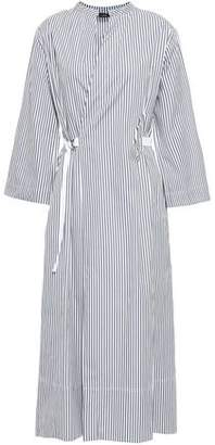 Joseph Laury Striped Cotton-poplin Wrap Midi Dress