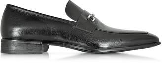 Moreschi Santiago Black Signature Buffalo Leather Loafer Shoe w/Rubber Sole