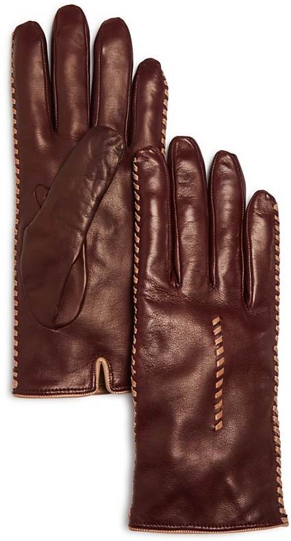 Bloomingdale's Bloomingdale's Cashmere Lined Whipstitch Leather Gloves - 100% Exclusive