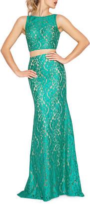 Mac Duggal 2-Piece Crop-Top Cocktail Dress
