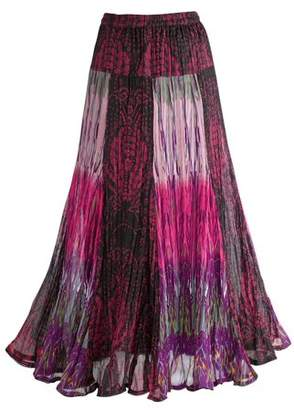 "NATURAL FASHIONS / ANU Women's Exotic Purple Patchwork Maxi Skirt - Crinkle Fabric - 35"" L"