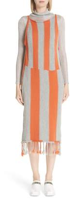 Eckhaus Latta Stripe Tassel Hem Sweater Dress