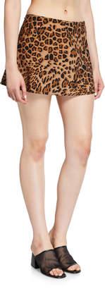 Karla Colletto Ava Leopard-Print A-Line Swim Skirt