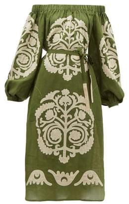 Palladium Vita Kin Off The Shoulder Embroidered Linen Dress - Womens - Khaki Multi