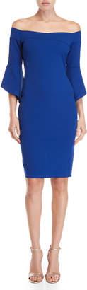 Bebe Cobalt Off-the-Shoulder Sheath Dress