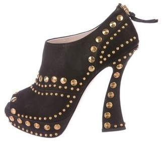 Miu Miu Studded Peep-Toe Booties