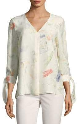 Lafayette 148 New York Blaire Painterly Tie-Sleeve Blouse