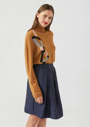 Emporio Armani Cashmere Polo Neck With Belt Embroidery