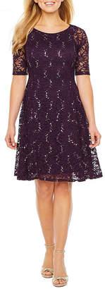 Rabbit Rabbit Rabbit DESIGN Design Short Sleeve Embellished Fit & Flare Dress