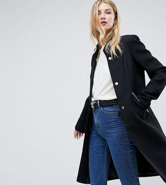 Asos Tall DESIGN Tall smart funnel neck coat with contrast trim