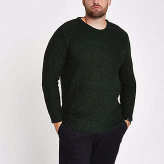 River Island Big and Tall green slim fit textured sweater
