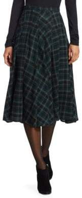 Akris Punto Wool Check Midi Skirt