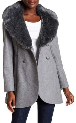 French Connection Faux Fur Collar Peacoat