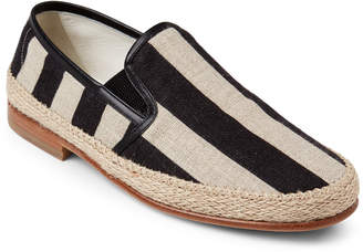 Dolce & Gabbana Beige & Black Striped Linen Slip-On Espadrilles
