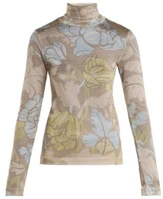 Acne Studios Leaf Print Roll Neck Top - Womens - Beige Multi