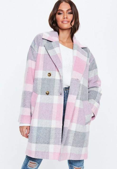 Pink Check Print Cocoon Coat, Pink