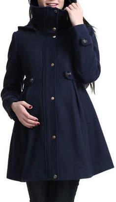 Kimi + Kai Maternity Olivia Wool-Blend Parka Coat w/ Removable Hood