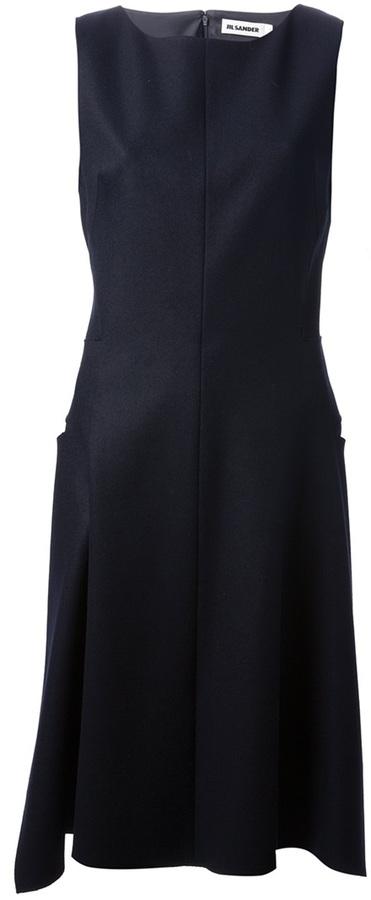 Jil Sander asymmetric pleat dress