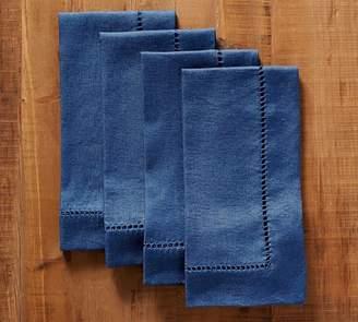 Pottery Barn Linen Hemstitch Napkin, Set of 4 - Sailor Blue