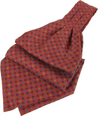 Forzieri Dots and Flower Print Silk Ascot
