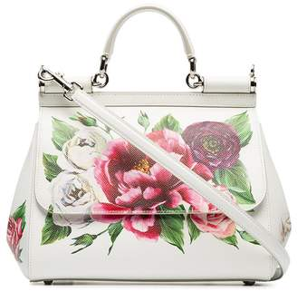 Dolce & Gabbana white, red and green sicily rose print leather handbag