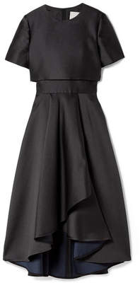 Jason Wu Woman Wrap-effect Eyelet-embellished Frayed Matelassé Dress Black Size 2 Jason Wu I2B5PyiQZe