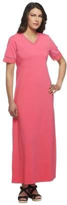 Denim & Co. V-neck Empire Waist Maxi Dress with Crochet Trim