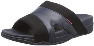 FitFlop Men's Freeway Pool Slide in Leather/Canvas Mix Open Toe Sandals,43 EU