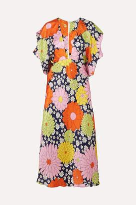 Dodo Bar Or Bernadette Floral-print Silk-jacquard Dress - Navy