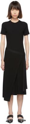 Rosetta Getty Black Short Sleeve Apron Wrap Dress