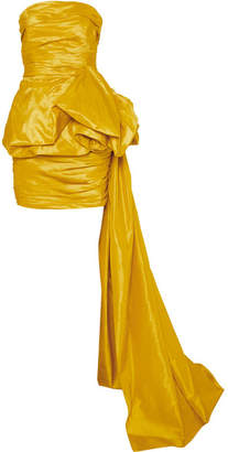Oscar de la Renta Strapless Ruched Silk-faille Mini Dress - Yellow