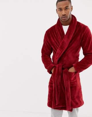 Asos DESIGN fluffy robe in red